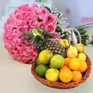 50 Pink Roses With Mixed Fruit Basket
