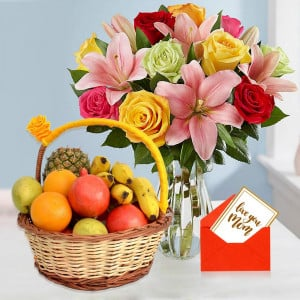 Colorful Roses & Lilies with Fruits For Mom