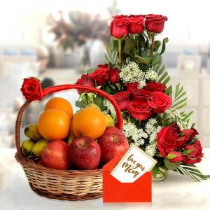 Red Rose Basket With Tasty Fruit Basket Mor Mom
