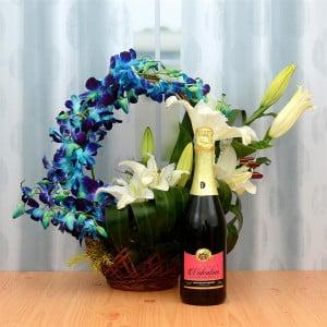 Ambrosial Flower Basket & Fruit Juice