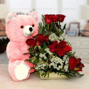 Pink Teddy Bear with Exotic Red Rose Basket