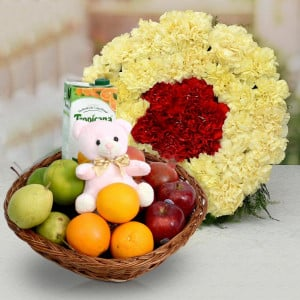 Carnations With Healthy Fruit Basket