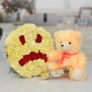 Sad Sorry Flower Arrangement With Teddy & Chocolate Hamper