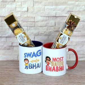 Bhaiya & Bhabi Personalized Mugs & Ferrero Rocher