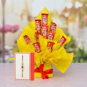 10 Pcs Kit Kat Bouquet With Rakhi