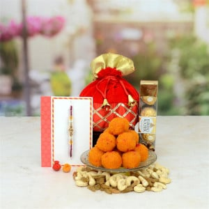 Motichoor Ladoo With Ferrero Rocher and Dry Fruits Rakhi Hamper