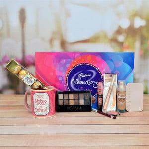 Maybeline Cosmetics Set, Celebration, Ferrero Rocher & Mug for Sister