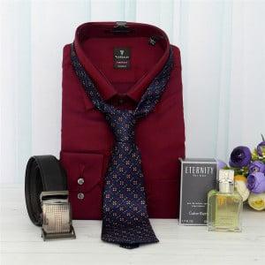 Maroon Formal Shirt, Black Belt with Blue Tie & Perfume