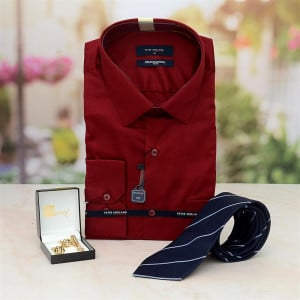 Shirt, Cufflink Set with Blue Tie