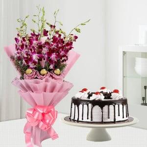 Orchids Bouquet & Black Forest Cake