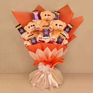 Cute Teddy Chocolate Bouquet