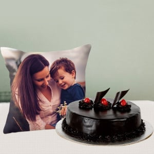 Truffle Cake with Picture Cushion Combo