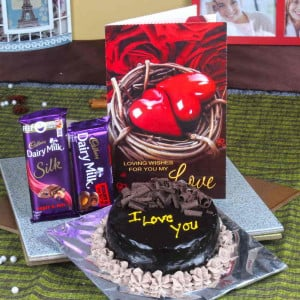 Cadbury Dairy Milk Chocolate With Chocolate Cake And Love Greeting Card