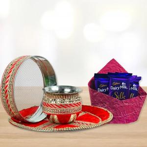 Karwa Thali With Silk