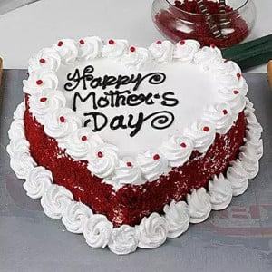 Heartshaped Red Velvet Mothers Day Cake