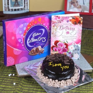 Chocolate Cake and Celebration Pack with Birthday Greeting Card