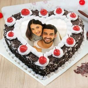 Heart Shaped Blackforest Photo Cake Online