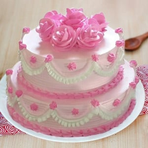 Two Tier Strawberry Cake