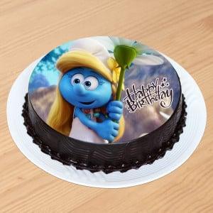 Cute Smurfette Chocolate Photo Cake