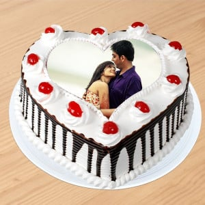 Black Forest Heart Shaped Photo Cake