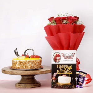Birthday Flowers and Cake online