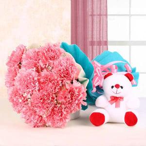 Flowers & Teddy Combo Online