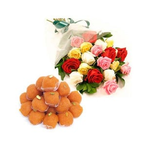 Mix Roses Bouquet with Ladoos